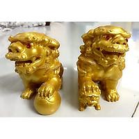 Cặp Tượng Kỳ Lân Phong Thủy - Màu  vàng nhũ