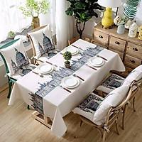 Khăn trải bàn vải canvas cao cấp lâu đài thế giới KB25- viền ren xinh xắn - trải bàn nhà hàng - quán ăn - phòng khách - phòng ăn KB25