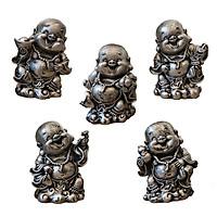 Bộ 5 Tượng Phật Di Lặc Tài Lộc May Mắn Phong Thủy Trang Trí Nhà, Xe Ô Tô AP01