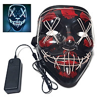 Glow Mask Modes Adjustable EL Wire Light Up Skull Luminous Mask Costume Party for Halloween (Yellow, Voice-control)