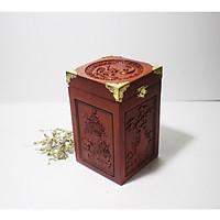 Hộp đựng trà - hũ đựng trà gỗ hương ta chữ phúc vuông - HG03H