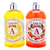 Combo Sữa Tắm L'amont En Provence Mimosa Shower Gel (Hương Dâu) +  Strawberry Shower Gel (Hương hoa Mimosa) 500ml/chai