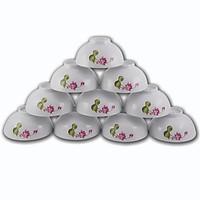 Bát đĩa Sứ Hải Dương - Bộ 10 bát cơm hộp xốp Hoa sen - Bộ bát đĩa - Sử dụng gia đình