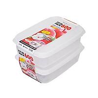 Set 2 hộp đựng thực phẩm 600ml nắp trắng nội địa Nhật Bản