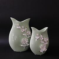 Cặp bình gốm xanh ngọc đính hoa trắng