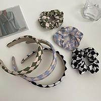 Headbands Scrunchies Cloth Simple Multi-color Grid Printed Hair Ornament