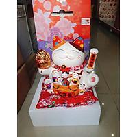 Mèo Thần Tài Vẫy Tay Nhật Bản + Tặng Kèm Pin & Hộp Quà Sang Trọng