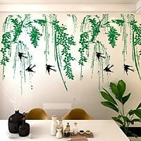 Decal dán tường phong cảnh thiên nhiên xanh mát liễu rũ chim én