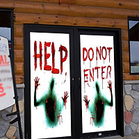AFH1124 Halloween haunted House Layout Scary HELP DONOT ENTER Glass Sticker