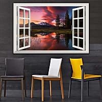 Bức tranh cửa sổ 3D dán tường PHONG CẢNH HỒ NƯỚC 2 lựa chọn bề mặt cán PVC gương hoặc cán bóng, mã số: 00402126L11