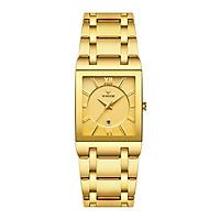 Đồng hồ nam thạch anh WWOOR thời trang Mặt số hình chữ nhật Không thấm nước dây đeo tay bằng thép không gỉ - Đen & Vàng hồng