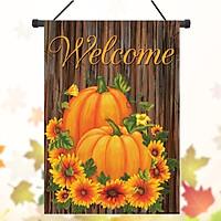 "Pumpkins and Mums Fall Welcome Garden Flag Autumn Floral 12.5"" x 18"""