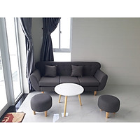 Bộ sofa băng phòng khách tay cong 1m9x80 xám đen