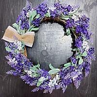 Vòng hoa giả vòng hoa lavender tím đường kính 25cm