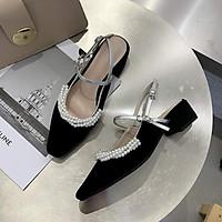 Giày Sandal  Bít Mũi Viền Ngọc Siêu  Xinh Kèm Tất/Vớ Da Chân