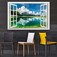 Bức tranh cửa sổ 3D dán tường PHONG CẢNH HỒ NƯỚC 2 lựa chọn bề mặt cán PVC gương hoặc cán bóng, mã số: 00402117L11