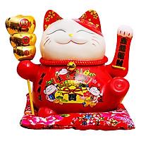 Mèo May Mắn Đỏ Kim Ngân Phú Quý