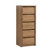 Tủ ngăn kéo JYSK Vedde 5 ngăn gỗ công nghiệp màu sồi 50x126x43cm
