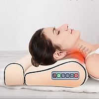 Gối mát xa massage hồng ngoại 16 bi cao cấp thế hệ mới, trị liệu cổ, vai ,gáy, cột sống lưng chất liệu da, vải chống thấm nước + tặng kèm gối lưng + gói trị liệu ngải cứu
