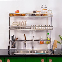 Kệ chén bát đa năng Foodcomkích thước 86 cm 2 tầng dùng cho bồn đơn bằng inox cao cấp không gỉ, giá để bát trên bồn rửa ráo nước cho nhà bếp sạch sẽ