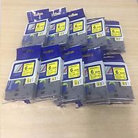 Combo 10 cuộn nhãn in TZ2-611 tiêu chuẩn - Chữ đen trên nền vàng 6mm - Hàng nhập khẩu