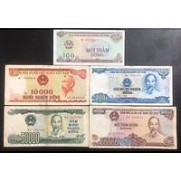 Bộ tiền Việt Nam huyền thoại, 100 đồng, 10k đỏ, 20k xanh, 50k xanh và 100k tím