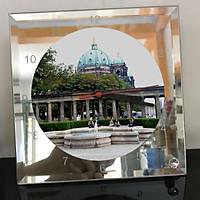 Đồng hồ thủy tinh vuông 20x20 in hình Berlin Cathedral - nhà thờ chính tòa Berlin (13) . Đồng hồ thủy tinh để bàn trang trí đẹp chủ đề tôn giáo