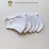 Khẩu Trang Vải Cotton Cao Cấp Chống tia UV Combo 5 cái Màu Trắng