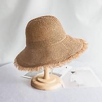 2021 Mới Nón Người Phụ Nữ Mùa Hè Mũ Rơm Người Phụ Nữ Gấp Ngoài Trời Tấm Che Nắng Mũ Lông Edge Rỗng Mũ Đi Biển Thời Trang Nữ Elegante mũ Lưỡi Trai
