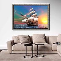Tranh canvas phong thủy treo tường - Thuận buồm xuôi gió - TBXG009 - Khung hoa văn sang trọng - 120x80cm