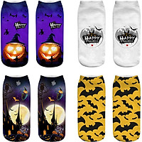 4 Pairs Low Cut Sock Men and Women Novelty Halloween Pumpkins Bats Casual Dress Socks