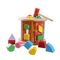 Đập bóng thả hạt khối hình bánh xe đồ chơi gỗ