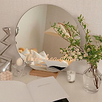 Gương tròn decor bàn trang điểm có đế gỗ