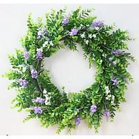 Vòng cỏ xanh điểm hoa lavender, vòng hoa trang trí 30cm