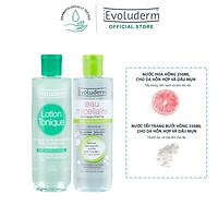Bộ Nước tẩy trang Evoluderm 250ml và Nước hoa hồng Evoluderm 250ml cho da hỗn hợp và dầu mụn