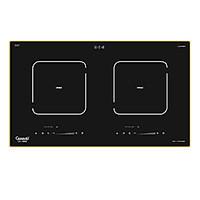 Bếp điện 02 từ CANAVAL CA-9969 Inverte Bo điều khiển Italia Chíp điều khiển SIMENS Mặt kính Ceramic Viền vàng 4 cạnh - Màu đen (4000W) - Hàng chính hãng Malaysia