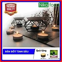 Nikascent Đèn đốt tinh dầu kim loại khử mùi, thơm phòng, thư giãn tinh thần + Tặng 1 lọ tinh dầu 5ml và 1 nến đốt
