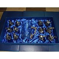 Bộ Ly 12 con giáp màu xám bạc hàng nhập khẩu nhật bản
