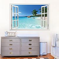 Tranh decal dán tường 3D, giấy dán tường 3D trang trí nhà cửa: Biển, nắng và gió