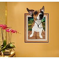 Decal dán tường 3D khung ảnh hình chú chó đeo tai nghe SK9214N