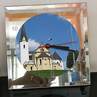 Đồng hồ thủy tinh vuông 20x20 in hình Church - nhà thờ (197) . Đồng hồ thủy tinh để bàn trang trí đẹp chủ đề tôn giáo