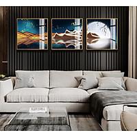 Tranh phong thuỷ Mica 3 bức Nghệ thuật ánh trăng đêm rằm trừu tượng (Trường Lưu Thủy). Model: AZ3-0131. Khung nhôm hoặc Composite. Hình ảnh sắc nét, sang trọng, phù hợp nhiều không trang trí