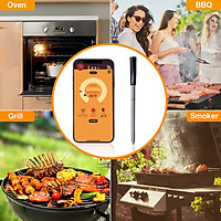 Smart Wireless Meat Thermometer 98.4ft Range True Smart Food Flesh Thermometer for Grill Oven Smoker Rotisserie BBQ