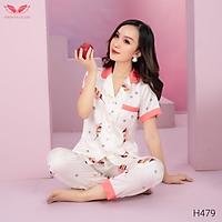 VINGO Bộ Đồ Mặc Nhà Pyjama Nữ Chất Liệu Lụa Pháp Cao Cấp Tay Cộc Quần Dài Họa Tiết Lá Vàng Thanh Lịch Hiện Đại H479 VNGO