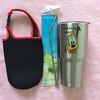 Ly giữ nhiệt Thái Lan 900ml  2 lớp inox 304_ tặng 2 ống hút inox + 1 túi xách + 1 cọ rửa ống hút _ hoạt hình inox
