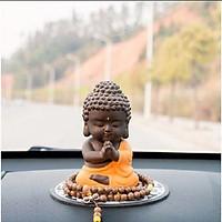 (kèm chuỗi)Tượng Phật như lai Hợp Chưởng Gốm Đỏ_màu vàng