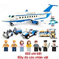 Bộ đồ chơi lắp ghép mô hình sân bay KAVY NO.8810 gồm máy bay, phi công, nhà ga, ô tô...652 chi tiết đầy đủ tạo hình