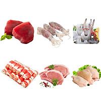 COMBO 92 : 500gr Cá ngừ cắt lát + 1kg Mực trứng làm sạch + 1kg Tôm thẻ lột vỏ còn đuôi + 500gr Ba chỉ bò Mỹ cuộn + 1kg Cốt lết heo + 1kg Cánh gà khúc giữa