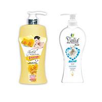 Combo sữa tắm thảo dược Vitamin E, nước hoa Thebol 1.2 kg + sữa tắm chiết xuất tinh sữa dê Valia