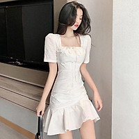 Váy trắng đuôi cá nữ chất liệu mềm mại, thoáng mát